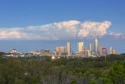 Downtown Austin Under A Thunderhead Print by Rob Greebon