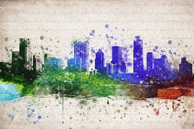 Austin Skyline Mixed Media - Austin In Color by Aged Pixel