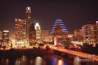 Lady Bird Lake Photograph - Austin Lights The Night by Terry Rowe