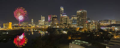 Austin Skyline Photograph - Fireworks And The Austin Skyline On New Year's Eve by Rob Greebon