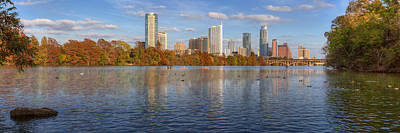 Panorama Image Of The Austin Skyline In Autumn Art Print by Rob Greebon