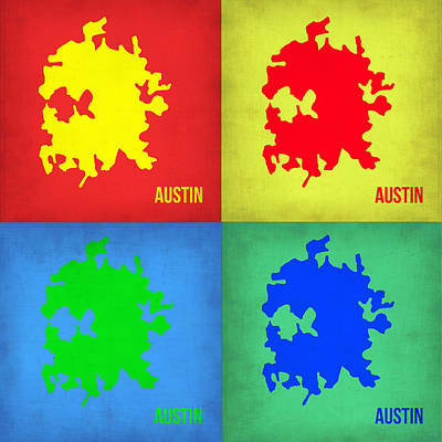 Austin Painting - Austin Pop Art Map 1 by Naxart Studio
