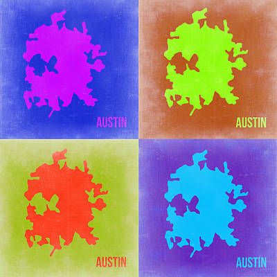 Austin Painting - Austin Pop Art Map 2 by Naxart Studio