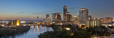 An Evening Skyline Panorama From Austin Texas Print by Rob Greebon