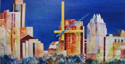 Mixed Media - Austin Skyline Blue by Vicki Brevell