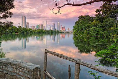 Geese Wall Art - Photograph - Austin Skyline From Lou Neff Point by Silvio Ligutti
