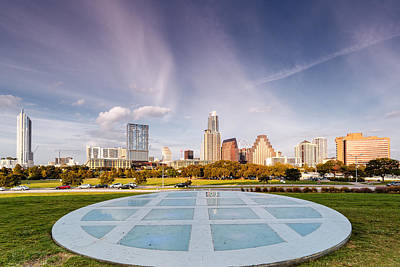 Lady Bird Lake Photograph - Austin Skyline From The Longs Center For The Performing Arts by Silvio Ligutti