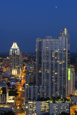 Austin Skyline Images - Frost Tower And The 360 Condos Print by Rob Greebon