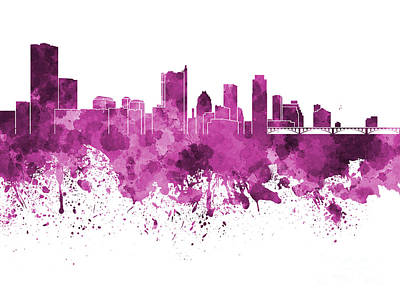 Austin Skyline Painting - Austin Skyline In Pink Watercolor On White Background by Pablo Romero