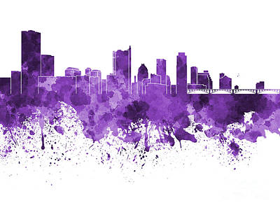 Austin Skyline Painting - Austin Skyline In Purple Watercolor On White Background by Pablo Romero