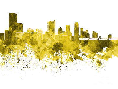Austin Skyline Painting - Austin Skyline In Yellow Watercolor On White Background by Pablo Romero