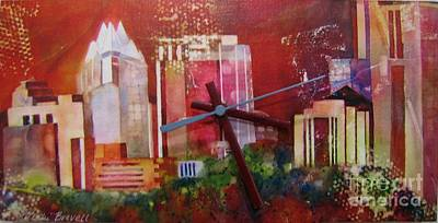 Mixed Media - Austin Skyline Orange by Vicki Brevell