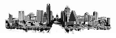 Austin City Limits Digital Art - Austin Skyline Photomontage by Carl Crum