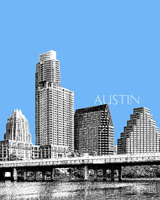 Building Digital Art - Austin Skyline - Sky Blue by DB Artist