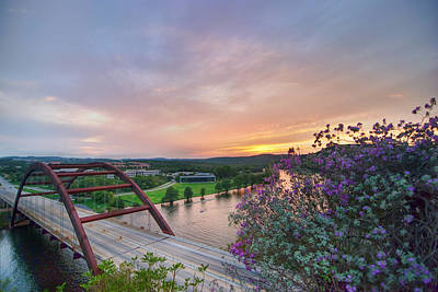 Austin Sunset Over Pennybacker Bridge Hdr Art Print by Preston Broadfoot