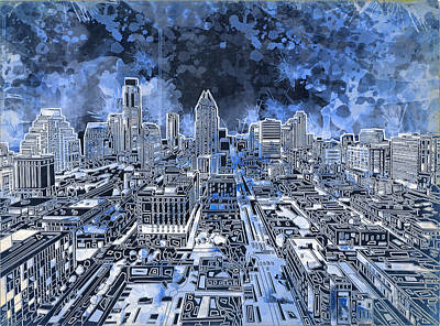 Austin Skyline Painting - Austin Texas Abstract Panorama 5 by Bekim Art