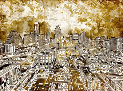 Sepia Painting - Austin Texas Abstract Panorama 6 by Bekim Art