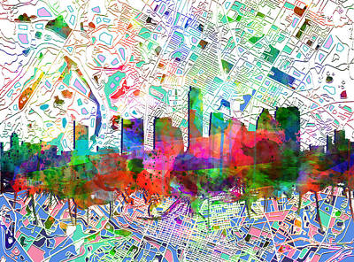 Austin Skyline Painting - Austin Texas Abstract Panorama 7 by Bekim Art
