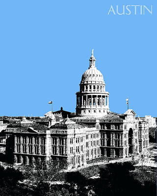 Pen Digital Art - Austin Texas Capital - Sky Blue by DB Artist