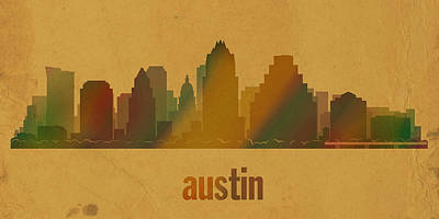 Austin Mixed Media - Austin Texas City Skyline Watercolor On Parchment by Design Turnpike
