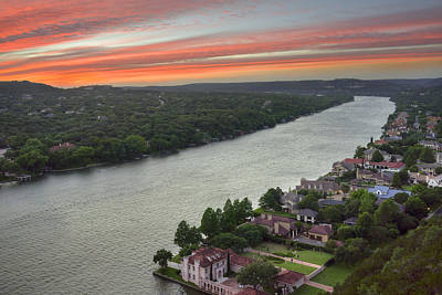Austin Texas Images - Mount Bonnell Evening 1 Art Print by Rob Greebon