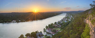 Austin Texas Images - Mount Bonnell Panorama - Late May Sunset Art Print by Rob Greebon