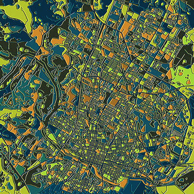 Abstract Map Digital Art - Austin Texas Map 2 by Bekim Art