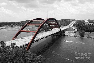 Art Print featuring the digital art Austin Texas Pennybacker 360 Bridge Color Splash Black And White by Shawn O'Brien
