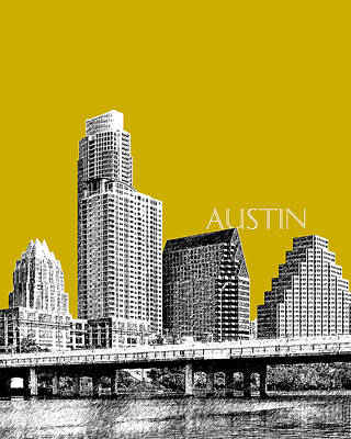 Tower Digital Art - Austin Texas Skyline - Gold by DB Artist