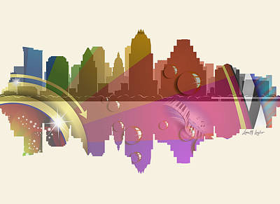 Digital Art - Austin Texas Skyline by Loretta Luglio