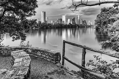 Austin Texas Skyline Lou Neff Point In Black And White Art Print