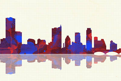 Austin Skyline Digital Art - Austin Texas Skyline by Marlene Watson