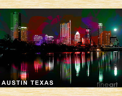 Austin Skyline Mixed Media - Austin Texas Skyline by Marvin Blaine