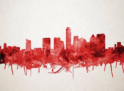 Painting - Austin Texas Skyline Watercolor 4 by Bekim Art