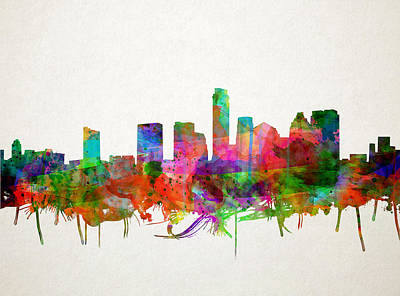 Painting - Austin Texas Skyline Watercolor by Bekim Art