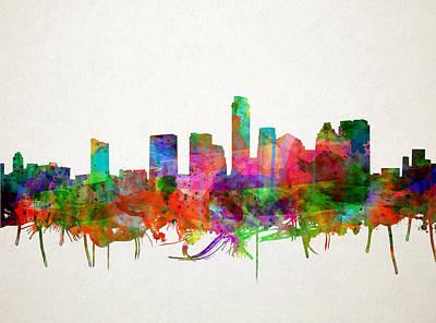 Painting - Austin Texas Skyline Watercolor by Bekim Art