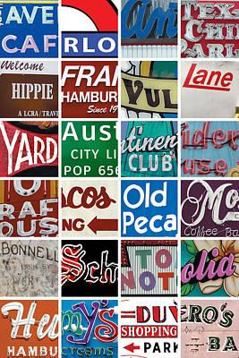 Austin City Limits Digital Art - Austin Texas Squared Photomontage by Carl Crum