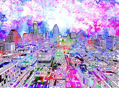 Austin Skyline Painting - Austin Texas Watercolor Panorama by Bekim Art