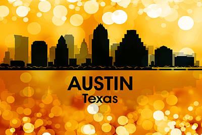 Abstract Skyline Mixed Media - Austin TX 3 by Angelina Tamez