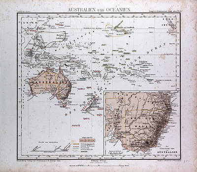Oceania Drawing - Australia And Oceania Map by Litz Collection