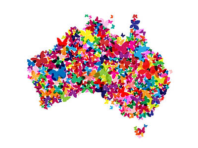 Cartography Digital Art - Australia Butterfly Map by Michael Tompsett