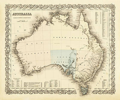 Old Map Photograph - Australia C. 1850 by Daniel Hagerman