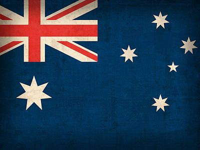 Nations Mixed Media - Australia Flag Vintage Distressed Finish by Design Turnpike
