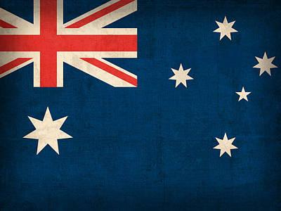Australian Mixed Media - Australia Flag Vintage Distressed Finish by Design Turnpike