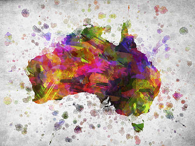 Map Of Australia Digital Art - Australia In Color by Aged Pixel