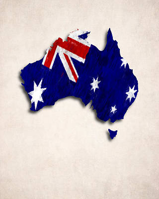 Map Of Australia Digital Art - Australia Map Art With Flag Design by World Art Prints And Designs