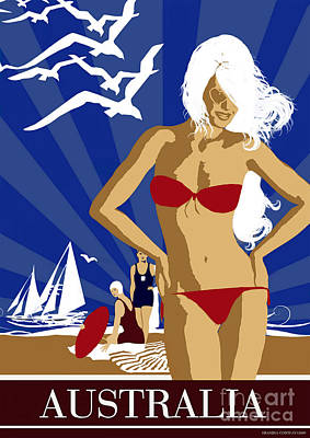 Bikini Digital Art - Australia by Shanina Conway
