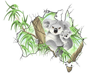 Koala Wall Art - Painting - Australia by Veronica Minozzi