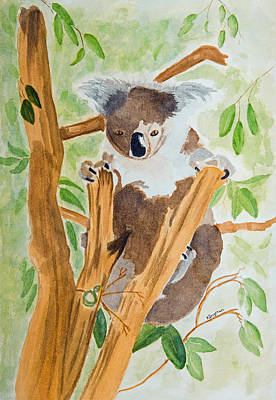 Painting - Koala In A Gum Tree  by Elvira Ingram