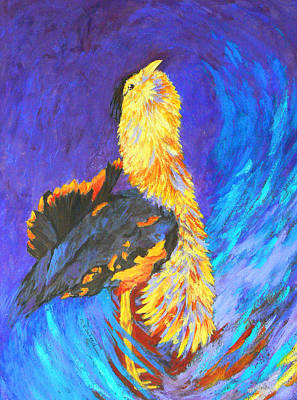 Painting - Australian Bustard Displaying by Margaret Saheed